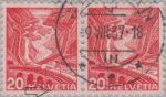 Switzerland: postage stamp error, Gotthard railway, colored dot