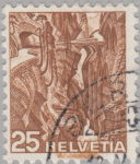 Switzerland: postage stamp error, Via-Mala-Schlucht, colored smudge