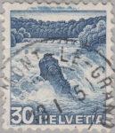 Switzerland: postage stamp error, Rheinfall Schaffhausen colored spots