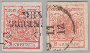 Austria 1850 types of postage stamps