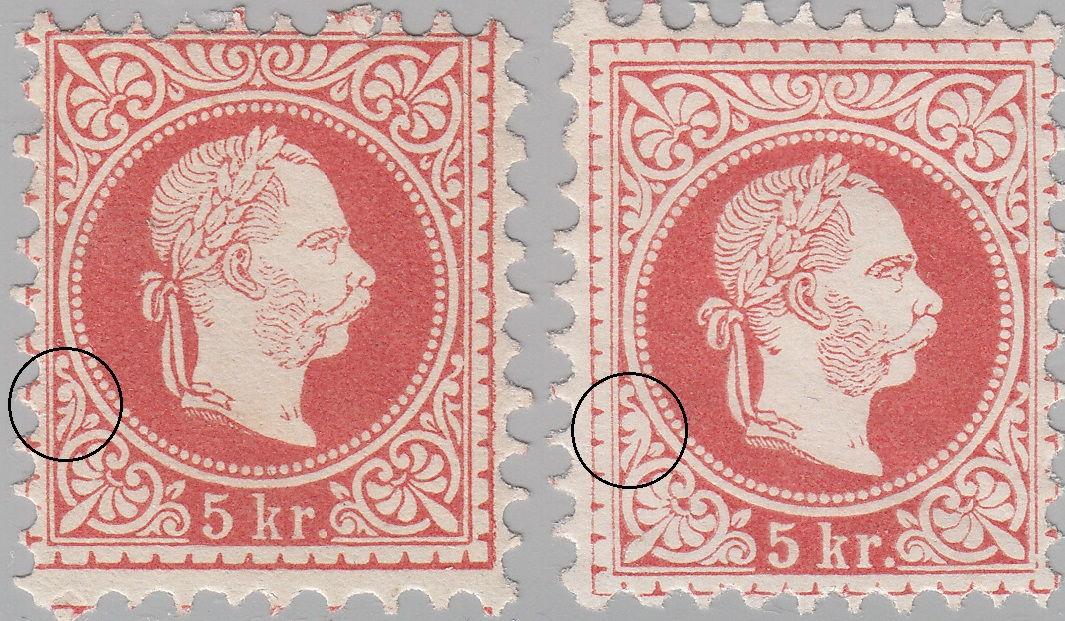 Austria 1867 5 Kreutzer Fine Print Types