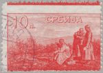 Serbia 1915 King Peter on Battlefield stamp perforation error