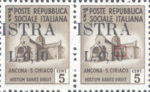 Provisional postage stamp issue for Pula overprint flaw: Second zero in denomination open on top