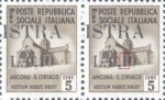Provisional postage stamp issue for Pula overprint flaw: Left serifs in numeral 1 missing