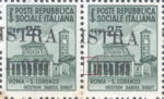 Provisional postage stamp issue for Pula overprint flaw: Horizontal line in letter L broken