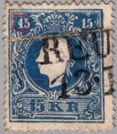 Austria 1858 stamp error: Sloping white line crossing the numeral 1 in the upper left corner