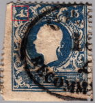 Austria 1858 stamp error: Thick horizontal line crossing the numeral 1 in the upper left corner