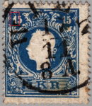 Austria 1858 stamp error: Hook of the numeral 1 in the upper left corner white