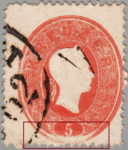 Austria 1860 postage stamp error: Lower part of the stamp poorly impressed