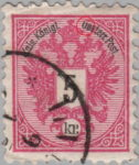 Austria Empire 1883 Doppeladler stamp flaw Letter O in Oesterr. open on top - Uesterr