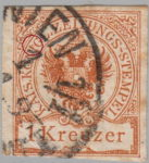 Austria Empire newspaper stamp flaw Colored spot between letters I and G in KÖNIG