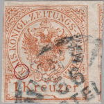 Austria Empire newspaper stamp flaw Letter K in KAIS broken in the middle