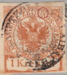 Austria Empire newspaper stamp flaw Colored spot between letters U and N in ZEITUNGS