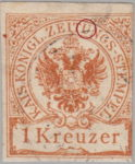 Austria Empire newspaper stamp flaw Top right part of the letter U in ZEITUNGS broken