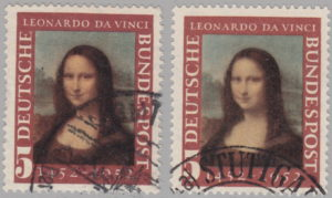 Germany Mona Lisa 1952 postage stamp types