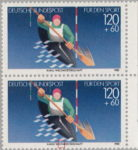 Germany sports postage stamp 1986 plate flaw The first letter T in WELTMASTERSCHAFT short