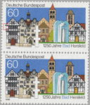 Germany Bas Hersfeld postage stamp plate flaw Outer wall of the house to the left broken