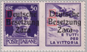 German occupation of Zadar - types of overprints