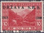 SHS Bosnia Herzegovina postage stamp overprint error o in Bosna damaged