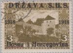 SHS Bosnia Herzegovina 1918 postage stamp overprint error letters Bosn in Bosna shifted upwards