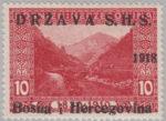 SHS Bosnia Herzegovina 1918 postage stamp overprint error missing year mark