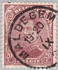 Belgium King Albert postage stamp type 4