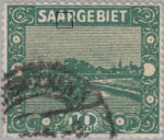 Germany Saargebiet scenery postage stamp Color dot in the second letter A