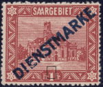 Germany Saargebiet scenery postage stamp number 1 franc damaged