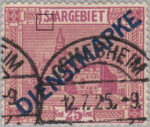Germany Saargebiet scenery postage stamp Letter S in SAARGEBIET with cedilla