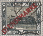 Germany Saargebiet scenery postage stamp colored dot near the left frame