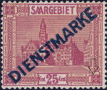 Germany Saargebiet scenery postage stamp White dot in the ornament