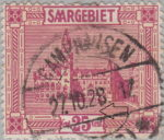 Germany Saargebiet scenery postage stamp colored dot between horizontal lines