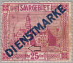 Germany Saargebiet scenery postage stamp Colored dot in front of the tower's entrance