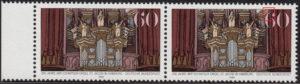 Germany postage stamp plate error: Dark spot in numeral 6 in denomination