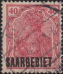 Germany Saargebiet stamp overprint error overinking