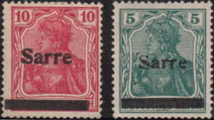 Germany Sarre postage stamp overprint types 1 3