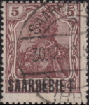 Germany Saargebiet stamp overprint flaw