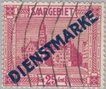 Germany Saargebiet official stamp overprint error hole in letter E