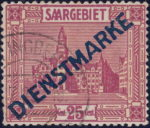 Germany Saargebiet official stamp overprint flaw incision on top of letter N in DIENSTMARKE