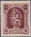 Germany Saargebiet scenery postage stamp Horizontal stroke of letter T in SAARGEBIET broken