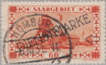 Germany Saargebiet postage stamp error colored spot on the crane