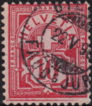 Swiss Cross and Numeral postage stamp border marks 10 rappen bottom