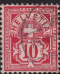 Swiss Cross and Numeral postage stamp border marks 10 centimes top