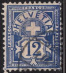 Switzerland Cross and Numeral postage stamp error 12 cents color smear