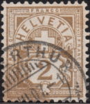 Switzerland Cross and Numeral postage stamp 2 rappen color smear