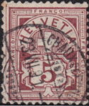 Swiss Cross and Numeral postage stamp border marks 5 centimes left