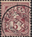 Swiss Cross and Numeral postage stamp border marks 5 rappen right