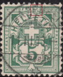 Swiss Cross and Numeral postage stamp flaw inner frame below letter C of FRANCO broken - both types