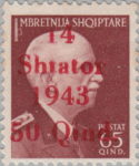 German occupation of Albania postage stamp overprint flaw: Flag of numeral 1 in 14 short, first letter in Shtator distorted