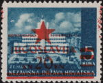 Yugoslavia 1945 Zagreb postage stamp overprint color spill
